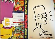 Hand Signed Matt Groening Drawing Simpsons Business Card Comic Con 2014 Psa Dna
