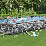 Coleman 26and039 X 52 Power Steel Oval Above Ground Pool Set With Wifi Pump