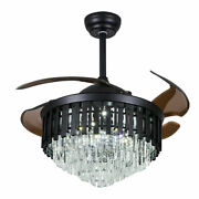 42 Retractable Black Crystal Led Chandelier Remote Invisible Ceiling Fan Lights