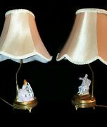 Pair Of French Antique Porcelain Lace And Brass Figurine Lamps With Gold Trim