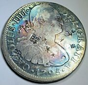 1795 Chopmarks Rainbow Toned Mexico Silver 8 Reales 1700and039s Spanish Dollar Coin