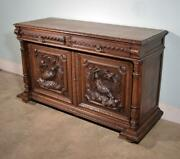 French Antique Black Forest/hunting Sideboard/buffet With Deep Carvings