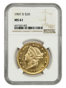 1907-d 20 Ngc Ms61 - Flashy - Liberty Double Eagle - Gold Coin - Flashy