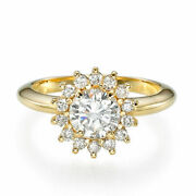 1.50 Ct D/si1 Womenand039s Round Cut Diamond Engagement Ring 18k Yellow Gold