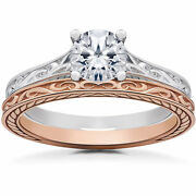 1 Ct Vintage Scroll Solitaire Engagement Ring And Wedding Band White And Rose Gold
