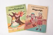 Vintage Complete Story And Coloring Book Of Alice In Wonderland And Pinocchio .39