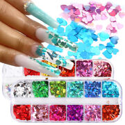 12 Grids Love Heart Nail Art Glitter Sequins Spangle Laser Flakes Stickers Tips