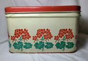 Vintage Metal Tin Red Top Hinged Bread Box Flower Decorations National Can Corp