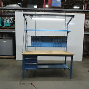 72wx30d Wood Top Work/production Bench 29-37 Height W/drawers And Light