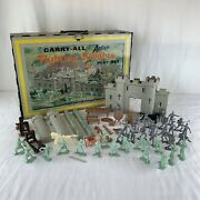 Vintage 1968 Louis Marx Carry All Action Fighting Knights Castle Set Rare Lot