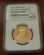 Great Britain 2014 Gold 2 Pounds Ngc Pf69uc Wwi - 100th Anniversary Mintage 825