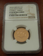 Great Britain 2014 Gold 1 Pound Ngc Pf69uc Scotland Floral Mintage 275