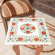 Marble White Counter Height Top Coffee Table Carnelian Marquetry Floral Art Deco