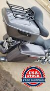 Charcoal Pearl King Tour Pack Pak Black Hinges And Latch For 1997+ Harley Touring
