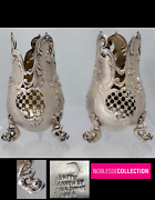 Merite Curious Pair Of Antique French Openwork Sterling Silver Vases Cones Newt