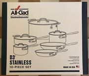 All Clad D3 10 Piece Stainless Steele Cookware Set 8400000962 New Best Offer