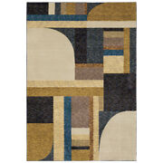Sphinx Gold Curves Blocks Banded Lines Contemporary Area Rug Geometric Str01