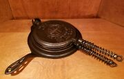 Rare Antique Griswold No. 8 Cast Iron Waffle All Original Marked Fancy Handle