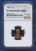 1987 S 1c Lincoln Memorial Cent Penny Ngc Pf70 Rd Ultra Cameo