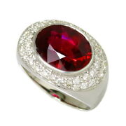 Us 8.5 Red Tourmaline / Rubellite 5.04ct Diamond 0.66ct In Total Ring K18wg ...