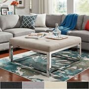 Solene Square Base Ottoman Coffee Table - Chrome By Inspire Large