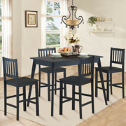 5pcs Counter Height Dining Set Kitchen Table 4 Chair Furniture Black Rubber Wood