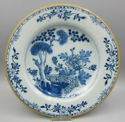 Marked The Porceleyne Bijl - Antique Delft Plate - Chinoiserie