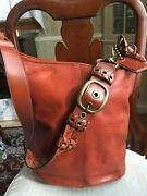 Large Coach Bleecker Duffle Style 11423--rare Color Rust--tattersall Lining--euc