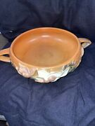 Roseville ☆ 6 Brown Terra Cotta 2 Handled Magnolia Bowl 447-6 ☆ Circa 1940and039s