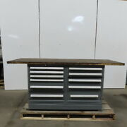 Wood Top 11 Drawer Small Parts Storage Work Station Bench 30dx90wx39h