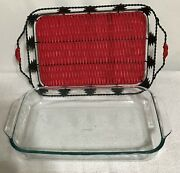 Pyrex Clear Glass Pan 3q Lasagna Or Cake Or Casserole 13 X 9.5 Red Carrier Usa