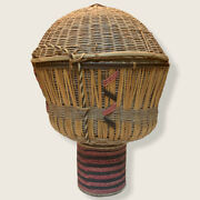 Native American Basket, Reproduction Of Vintage Style, Sieve With Lid And Pedestal