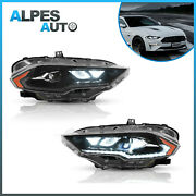Set2 Amber Full Projector Led Headlights For 2018-2021 Ford Mustang Left+right