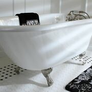 Classic Roll Top Petite 54-inch Cast Iron Clawfoot Tub With White