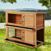 2 Tiers Wooden Pet House Hutch Rabbits Chickens Wooden Cage Play Backyard 48