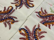 Native Australian Lyre Bird And Bottle Brush Vintage Hand Embroidered Tablecloth