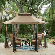 Southern Pines 12 Ft Hexagon Outdoor Gazebo Canopy With Bar Counter And Netting