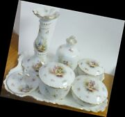 Limoges Vanity Tray Perfume Candleholderpowder Signed Ahrenfeldt Vintage Perfect