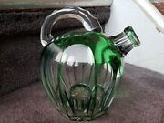 Vintage Abp Hand Blown Cut Glass Strap Handle Rum Jug/decanter With Stopper