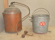 Antique Copper Moonshine Still With Bucket Coil And Heater Collectible Early Tool
