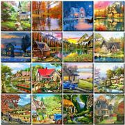 Village House Flowers Oil Painting By Numbers Hand Painted Canvas Home Decors