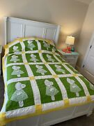 Sunbonnet Sue Full/queen Size Quilt/89.5andrdquox74andrdquo/vintage/yellow White Green