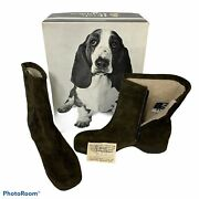 Vintage Hush Puppies Boots Suede Leather Lined Side Zip Women Size 8 55852 Nos