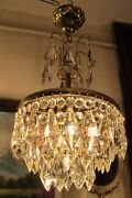 Antique Vintage French Basket Style Crystal Chandelier Lamp Light Luster 1960and039s