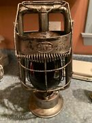 Rare Handled Nickel Plated Dietz King Fire Dept Great Red Globe Pat Date 8/27/7