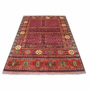 4and03910x6and0394 Hand Knotted Afghan Ersari Hutchlu Red Organic Wool Rug R67215