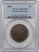 1804 Draped Bust Large Cent Private Restrike Pcgs Ms-64 Bn Pretty Color And Pq
