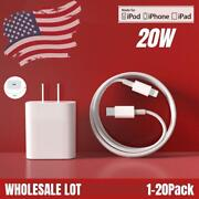 Bulk Lot 20w Pd Fast Power Adapter Usb-c To Iphone Charger Cable For Apple 12 11