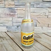 Canfieldandrsquos Beverages 1941 Glass Bottle Chicago Ilinois Root Beer Animated Vtg