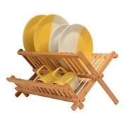 Premium Bamboo Dish Drying Rack - Compact Collapsible Dish Rack Kitchen Plate